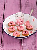 Mini doughnuts with pink chocolate