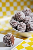 Coffee and chocolate truffles with coconut
