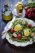 Grüner Spargelsalat mit Spinat, gekochtem Ei und Radieschen