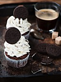 Cupcakes with chocolate biscuits