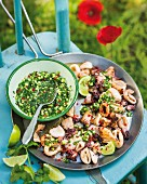 Calamari with salmon and cucumber salsa