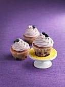 Three blueberry cupcakes