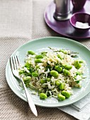 Edamame (green soya beans) with rice and dill
