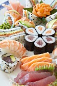 Various types of sushi on a platter
