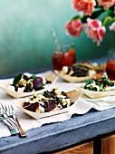 Lentil salad with artichoke, bresola and feta