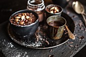 Chocolate cream with nuts and icing sugar