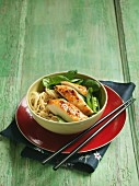 Noodles with turkey breast and spinach (Asia)