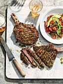Ribeye steak with chimi-churri and avocado salad