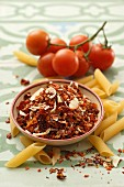 Arrabiata spice mixture, penne and fresh tomatoes