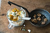 Pumpkin and feta cheese spread with walnuts