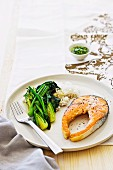 Salmon cutlet with asian style gremolata and stirfried vegetables