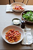 Pappardelle with pork sausage and salami
