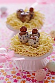 Chocolate quail's eggs for Easter