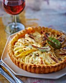 Pear tart with reblochon and caraway seeds
