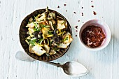 Celeriac antipasti with capers and black olives