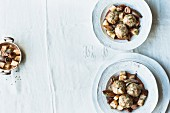 Honey cake dumplings with a celery and chestnut ragout