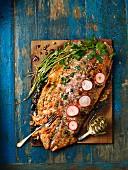 Cedar wood-grilled salmon