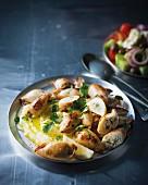 Squid filled with rice and skordalia (Greek garlic-based spread)