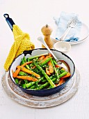Honey-glazed spring vegies
