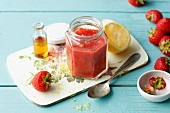Vegan strawberry sauce with agave syrup