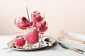 Quick raspberry sorbet with silken tofu and grated coconut