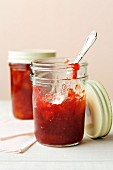 Vegan raspberry and peach jam