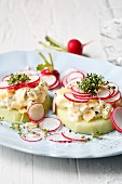 Kohlrabi slices with cheese quark and fresh radishes