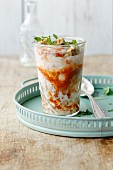 Ajvar yoghurt with chopped walnuts