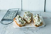 Pesto and Manchego cheese spread with piri-piri