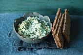 Yoghurt and herb spread with hard boiled eggs