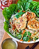 Fish cakes with pasta and salad (Thailand)