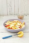 Sliced apples for an apple tart