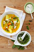 Stock vegetables with saffron and pesto verde