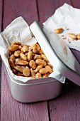 Homemade, oven-roasted spiced almonds