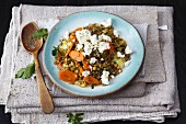 Lentil salad with carrots, parsnips and feta cheese
