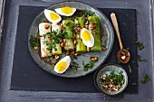 Poached leek with hard-boiled eggs and a nut vinaigrette