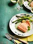 Poached trout with watercress sauce, asparagus and potatoes