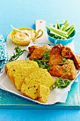 Fried chicken wings with cornbread