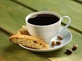 Almond biscotti and a cup of coffee