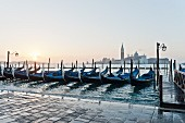 Gondolas at a mooring point on St Mark's Square, Venice