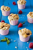 Raspberry muffins with a crumble topping