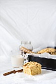 Cinnamon yeast cake tray bake