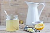 A jar of ginger and lemon honey