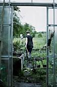 Frau mit Grabegabel im Gemüsebeet