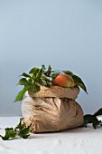 Organic apples with leaves in a paper bag