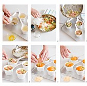 Baked eggs with smoked salmon being made