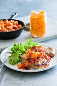 Pork chops with a peach sauce