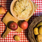 Vegan sauerkraut with apples and caraway