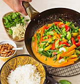 A vegan vegetable curry with coconut milk and red curry paste