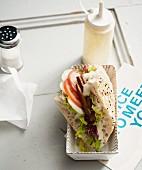 Vegan seitan kebab with soya yoghurt and fresh vegetables